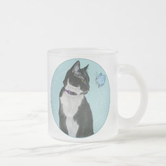 Cat and Butterfly Frosted Glass Coffee Mug