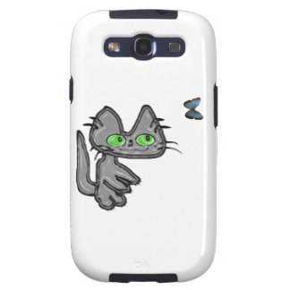 Cat And Butterfly Have Fun Samsung Galaxy SIII Cover
