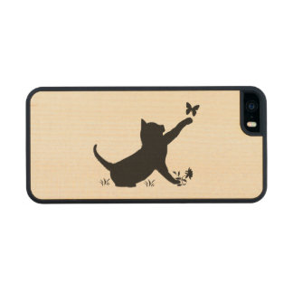 Cat and Butterfly in Silhouette Carved® Maple iPhone 5 Case