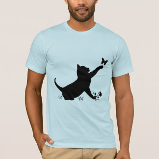 Cat and Butterfly in Silhouette T-Shirt