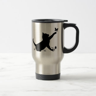 Cat and Butterfly in Silhouette Travel Mug