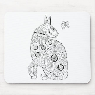 Cat And Butterfly Line Art Design Mouse Pad
