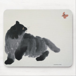 Cat and Butterfly Mouse Pad