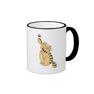 Cat and Butterfly Ringer Mug
