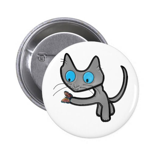 Cat and Butterfly Pinback Buttons