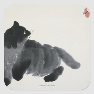 Cat and Butterfly Square Sticker