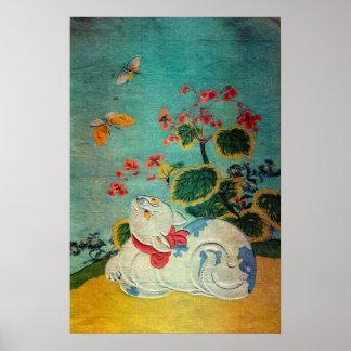 Cat and Butterfly, Suzuki Harunobu Poster