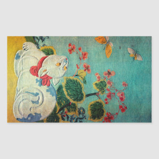 Cat and Butterfly, Suzuki Harunobu Rectangular Sticker