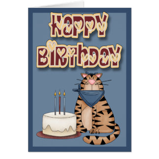 Cat and Cake Happy Birthday Card