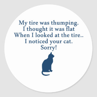 Cat and Car Classic Round Sticker