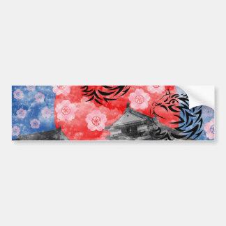Cat and cherry tree and Matsuyama castle Car Bumper Sticker