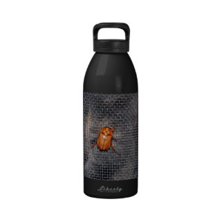 Cat and Christmas Beetle Reusable Water Bottle
