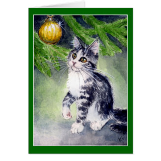 Cat and Christmas ornament card