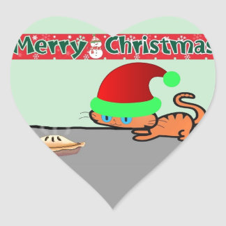 Cat and Christmas Pie Heart Stickers