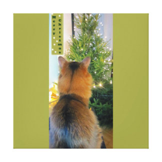 Cat and Christmas Tree Gallery Wrap Canvas