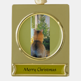 Cat and Christmas Tree Gold Plated Banner Ornament