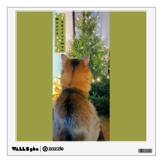 Cat and Christmas Tree Wall Decor