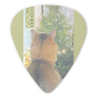 Cat and Christmas Tree White Delrin Guitar Pick
