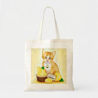 Cat and Cupcake Lemon Orange Tabby Kitten Tote Bag
