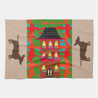 Cat and Dachshund Kitchen Towel