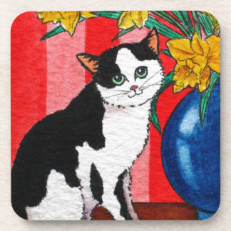 Cat and daffodils in a blue vase coaster