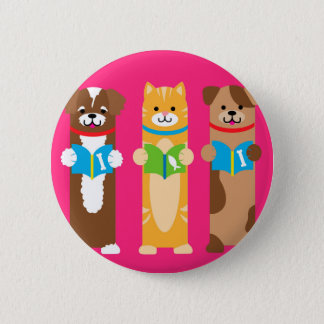 Cat and Dog Bookmarks Pinback Button