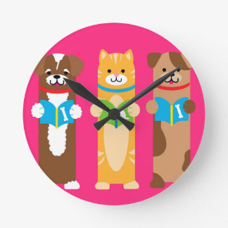Cat and Dog Bookmarks Round Clock