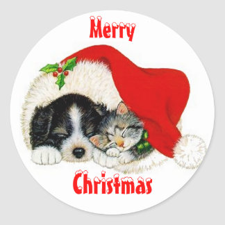 Cat and Dog Christmas Sticker