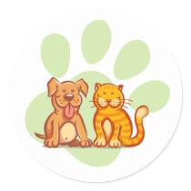 Cat and dog classic round sticker
