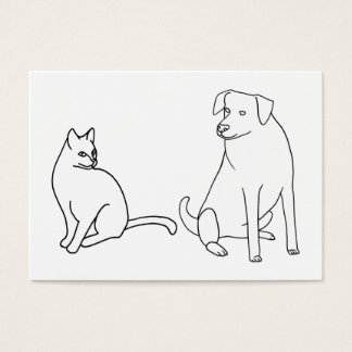 Cat and Dog Coloring Business Cards