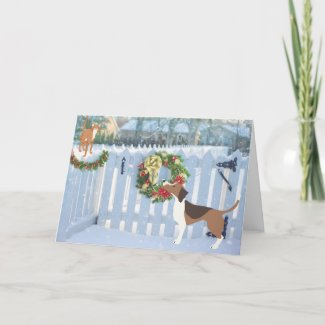Cat and Dog Enjoying the Snow Winter Christmas Holiday Card