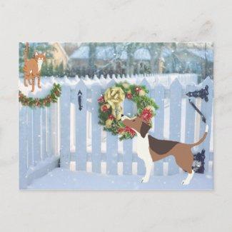 Cat and Dog Enjoying the Snow Winter Christmas Holiday Postcard