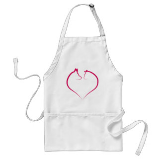 Cat and dog faces in red heart silhouette adult apron