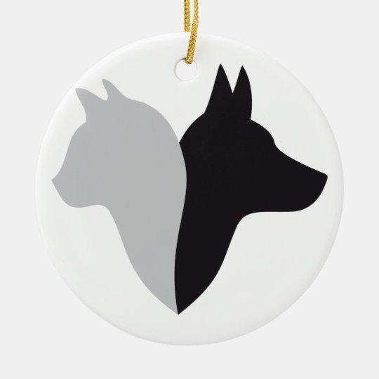 cat and dog head silhouette ceramic ornament