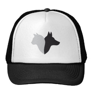 cat and dog head silhouette trucker hat