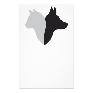 cat and dog head silhouette personalized stationery