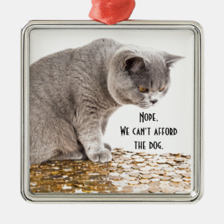 Cat and dog humor metal ornament
