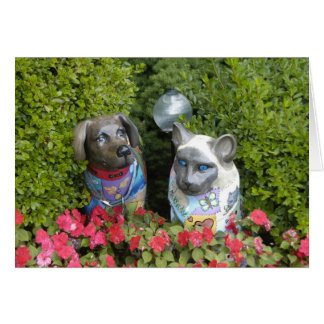 Cat and Dog in the Garden Card