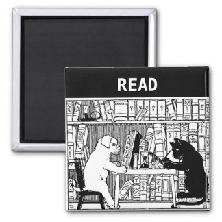 Cat and Dog in the Library 2 Inch Square Magnet