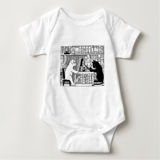 Cat and Dog in the Library Baby Bodysuit