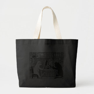 Cat and Dog in the Library Canvas Bag