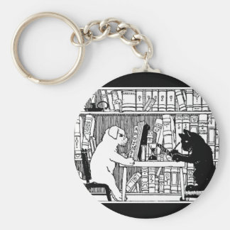 Cat and Dog in the Library Basic Round Button Keychain