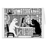 Cat and Dog in the Library Greeting Card