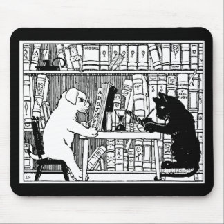 Cat and Dog in the Library Mouse Pad