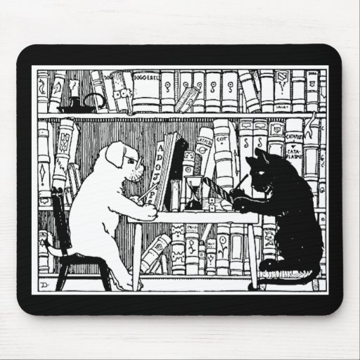Cat and Dog in the Library Mouse Pads