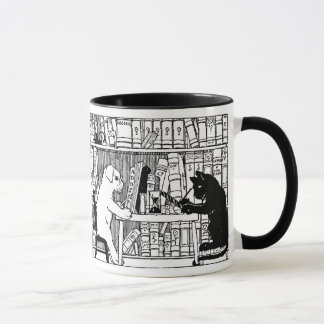 Cat and Dog in the Library Mug