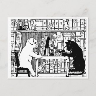 Cat and Dog in the Library zazzle_postcard