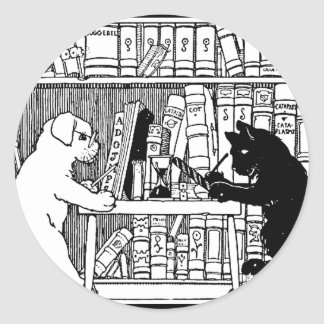 Cat and Dog in the Library Stickers