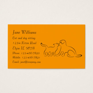 Cat and dog kissing business card