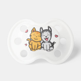 Cat and Dog Love Pacifier